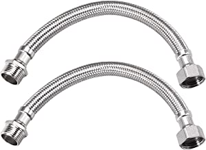 uxcell Faucet Supply Line Connector G1/2 Inch Female x G1/2 Inch Male 8 Inch Length Braided 304 Stainless Steel Hose 2Pcs