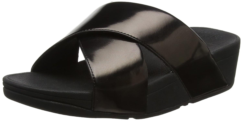 359d771063a7e FitFlop Women Lulu Cross Slide Mirror Open Toe Sandals