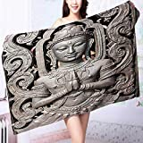 PRUNUS Luxury Bath Sheet Collection Antique Buddha in Traditional Thai Art with Swirling Floral Patterns Carving Japanese Use for Sports, Travel, Fitness, Yoga