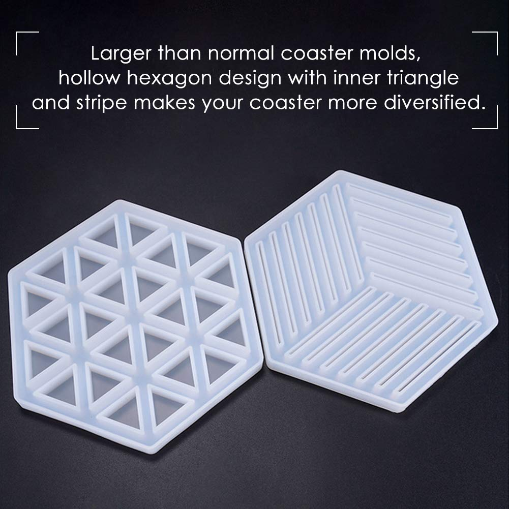 Beverage Coaster and Bowl Mat Including Inner Triangle and Stripe Mold for Coaster Art Silicone Resin Molds 2 Pack Large Hollow Hexagon Coaster Resin Molds