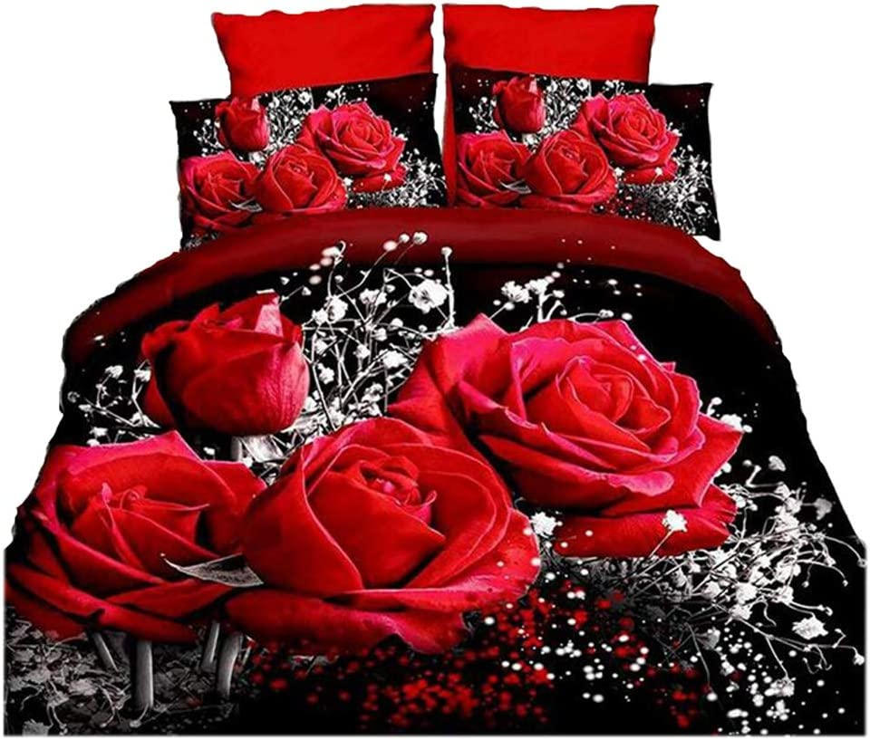 3d Bedding Sets Home Textile Hot Red Rose Pattern 4pcs Queen Size Bedding Sets Amazon Ca Home Kitchen