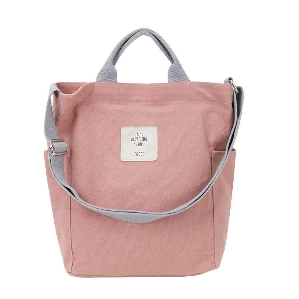 e99990ad3e91e Gindoly Casual Handtasche Damen Canvas Chic Schultertasche Damen  Henkeltasche Schulrucksack Große umhängetasche Tasche (Rosa)