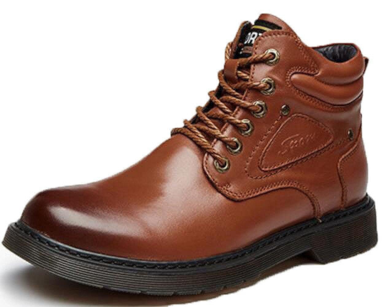 Herrenschuhe Leder Martin Stiefel Plus Samt Lässig Einzelne Schuhe Erhöhte Schuhe Freizeitschuhe,Gelb-braun-38