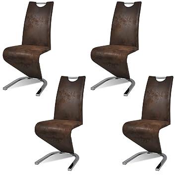 Vidaxl 4x Freischwinger Uforming Braun Esszimmerstuhl Schwingstuhl Stuhl