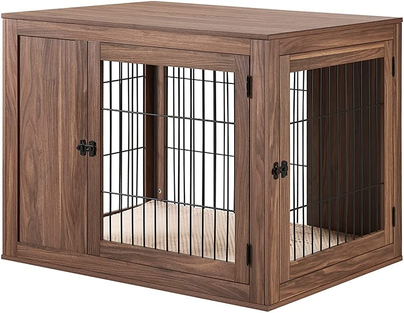 unipaws Furniture Style Dog Crate End Table with Cushion, Wooden Wire Pet Kennels with Double Doors, Large Dog House Indoor Use, Chew-Proof