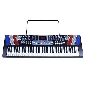 Puzzle de Piano Teclado para Niños 61 Teclas Piano Multifunción Enseñanza Inteligente Adulto Introducción Principiante Chico Chica Música Piano Negro + Lujo ...