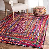 nuLOOM Handmade Casual Cotton Braided Area Rugs, 3' X 5', Multicolor