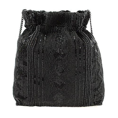 MARY FRANCES Black Out Beaded Solid Pattern Drawstring Crossbody Handbag by Mary Frances (Image #1)