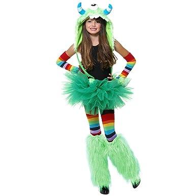 Amazon.com: Charades - Disfraz de monstruo verde para niña ...