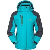 Mochoose Femme Outdoor Mountain Imperméable Coupe-Vent Softshell de Ski à Capuche Veste Vêtement de Sport de Pluie Camping la Pêche Veste de Chasse et Travail Jacket