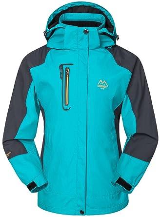 Mochoose Mujer Al Aire Libre Montaña Impermeable Windbreaker Softshell Esquí Chaqueta con Capucha Ropa Deportiva Impermeable
