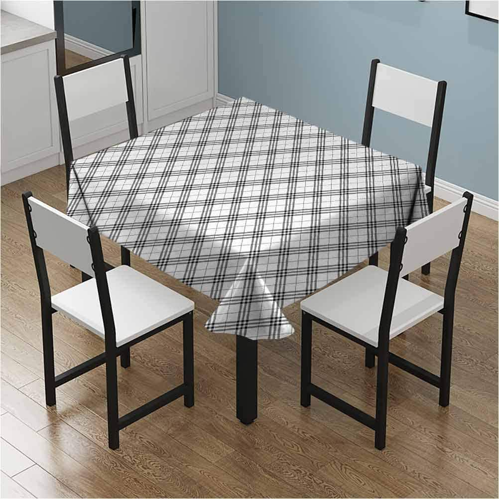 nooweihome Plaid Kitchen/Tablecloth Traditional Checkered British Country Pattern with Geometric Design Room/Party/Tablecloth W70 xL70 Navy Blue Vermilion White
