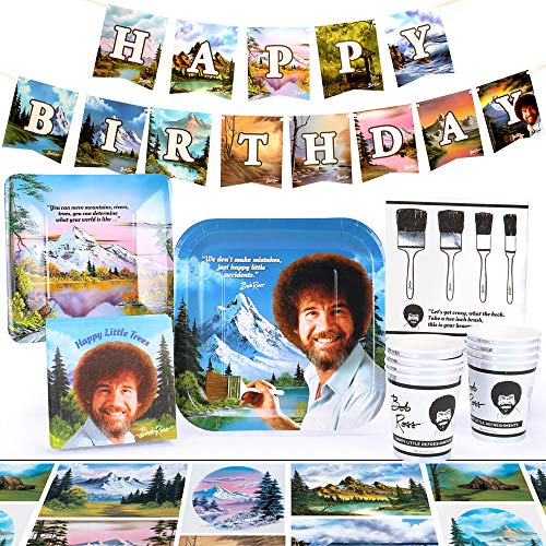Bob Ross Classic Party Supplies Set | Themed Decorations and Recyclable Tableware | Serves 8 (Standard)