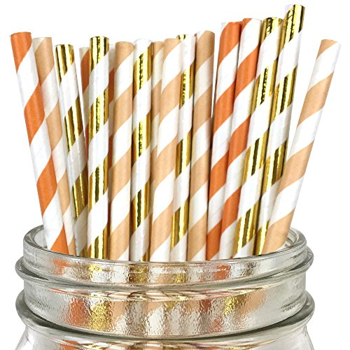 Just Artifacts Assorted Decorative Striped Paper Straws 100pcs - Orange/Apricot/Metallic Gold Striped (Happy Dots Apricot)