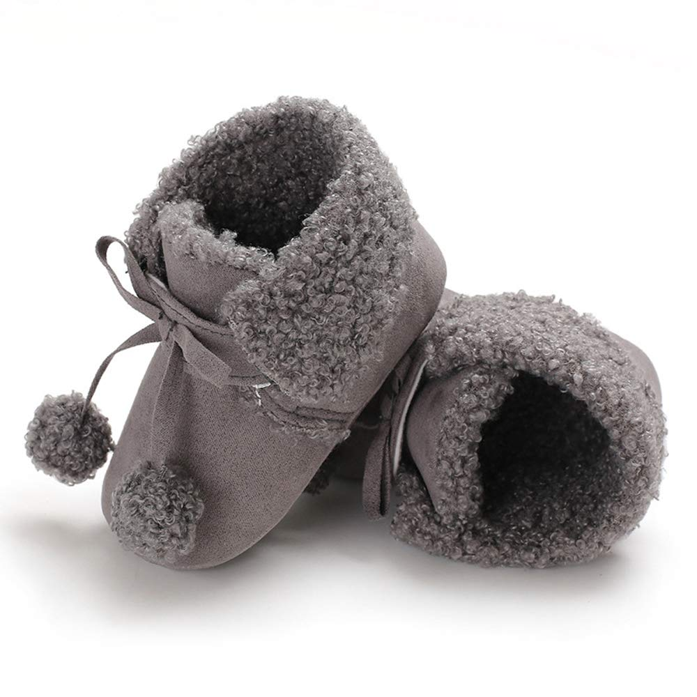 Antheron Baby Boys Girls Plush Snow Boots Soft Sole Anti-Slip Warm Winter Pom Pom Booties Toddler Walking Shoes