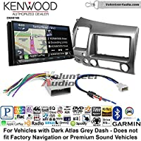 Volunteer Audio Kenwood DNX874S Double Din Radio Install Kit with GPS Navigation Apple CarPlay Android Auto Fits 2006-2011 Honda Civic (Dark Atlas Grey)