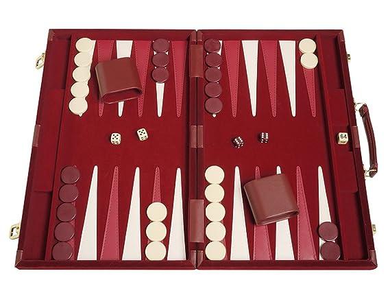 Deluxe Backgammon Set Board Game (Maroon 18X12)