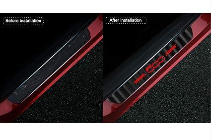 Für 500 Einstiegsleisten Schutz Aufkleber Verschleiß Vermeiden Verhindern Sie Kratzer Rutschfest Kohlefaser 4stück Rot Auto