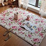 Short Velvet Romantic Pink Rose Carpet Area Rug for Teen Girls/Women/Ladies - MAXYOYO Floral Printed Soft Short Velvet Area Rug Non-Slip Carpet Pad, 79 by 79 Inch