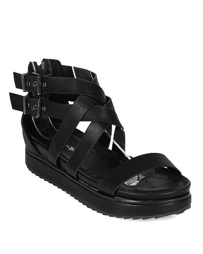 017b7ad84b Nature Breeze Gorgeous-02 Women Leatherette Open Toe Strappy Flatform Flat  Sandals,Black,