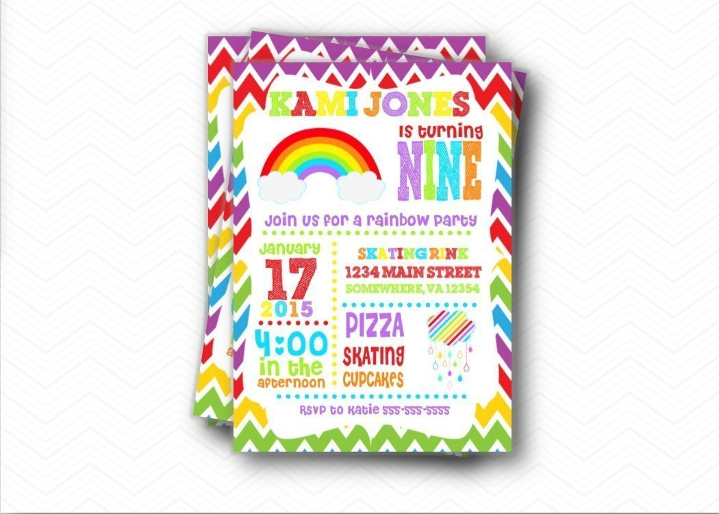 Amazon.com: Rainbow Birthday Party Invitations | Envelopes Included ...