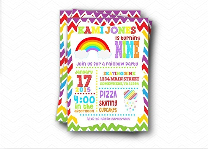Image Unavailable Not Available For Color Rainbow Birthday Party Invitations