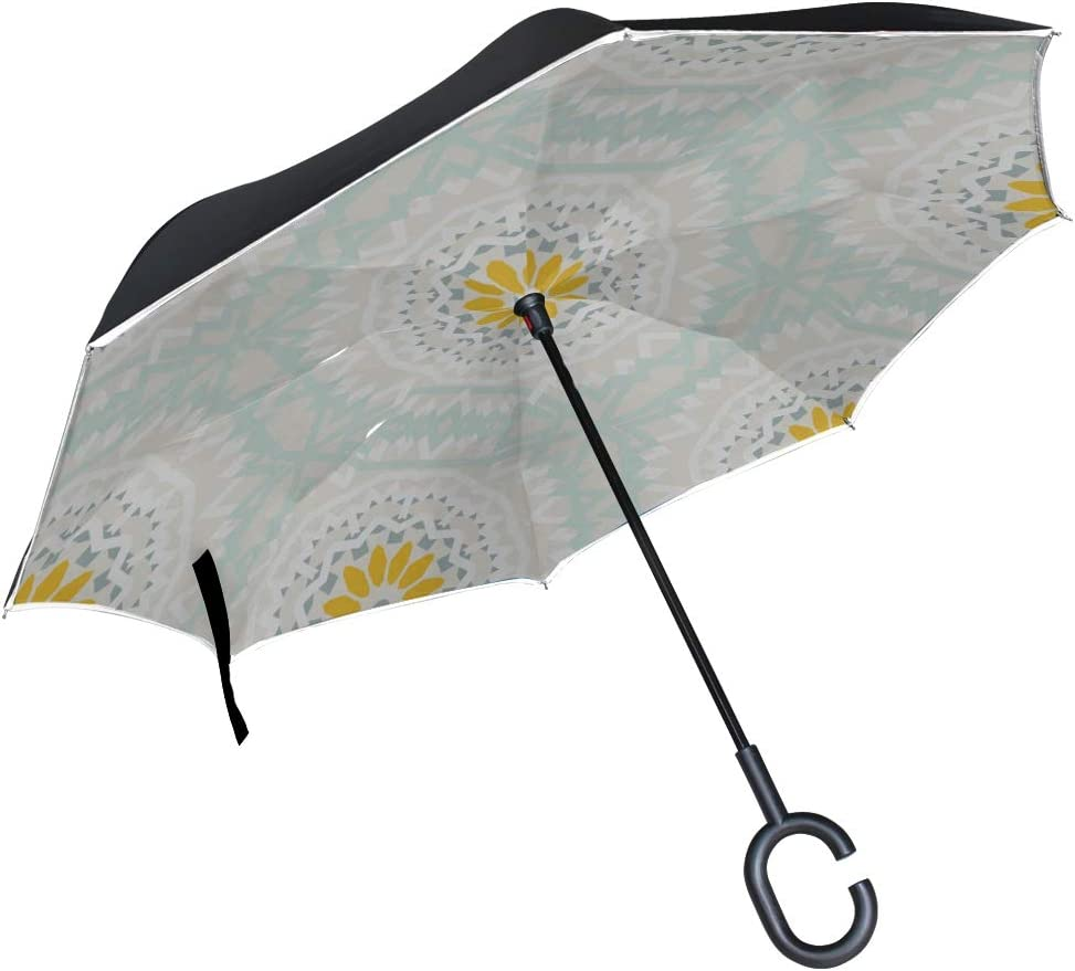 Double Layer Inverted Inverted Umbrella Is Light And Sturdy Tribal Colorful Bohemian Pattern Big Reverse Umbrella And Windproof Umbrella Edge Night R