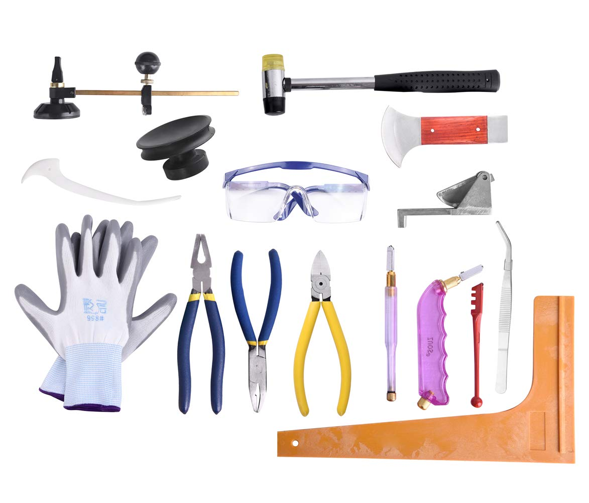 Professional 16 Pieces Mosaic tile and Stained Glass Start-up Tool Set with Carrying Case, Lead Came Kit for Beginner with Cutters, Pliers, Square, Hammer, Fid, Safety Glass, etc. by IMT