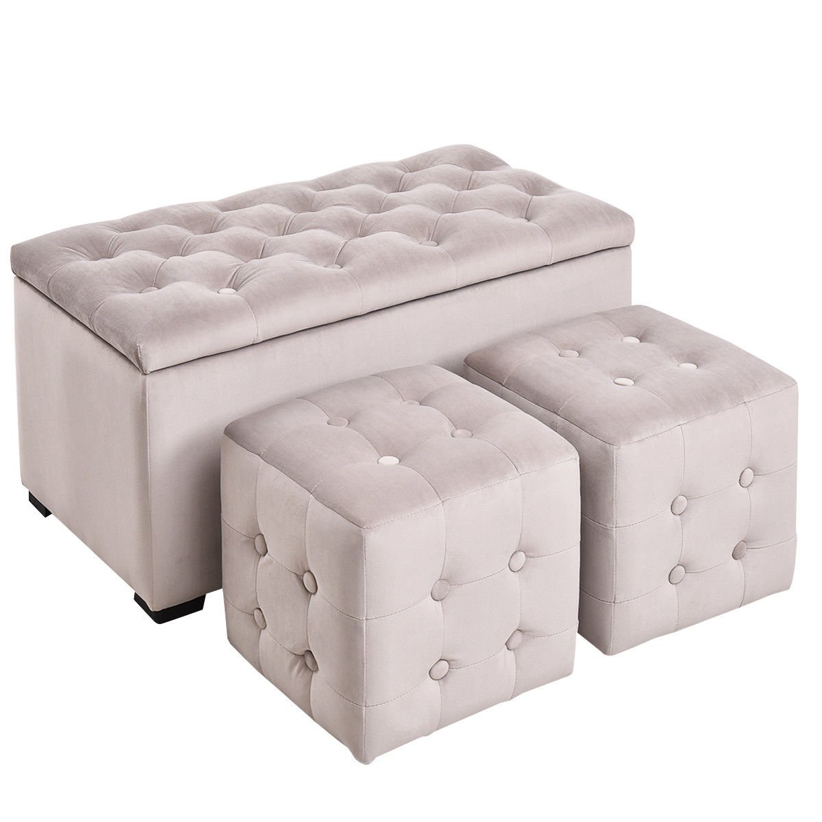 Amazon com giantex 3 piece tufted storage bench with 2 cube ottoman set microfiber home furniture ottoman bench with stool seatgray kitchen dining