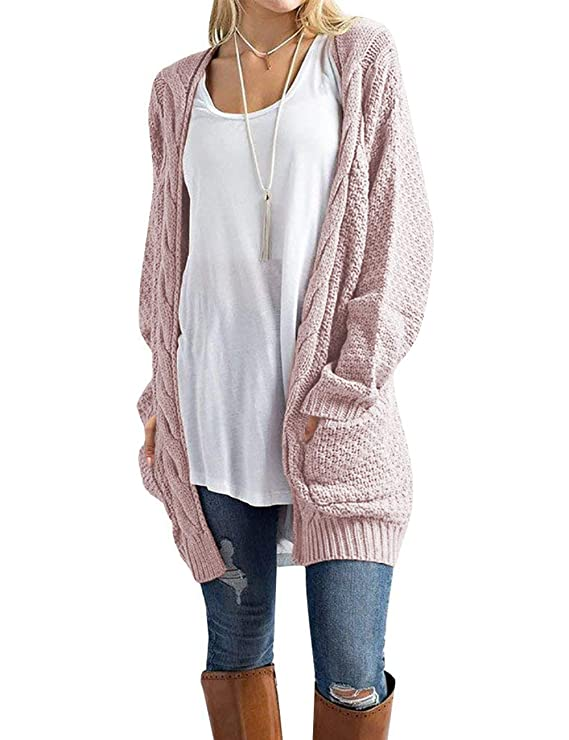 Traleubie Women's Open Front Long Sleeve Soft Classic Knit Cardigan Pink M best women's cardigans