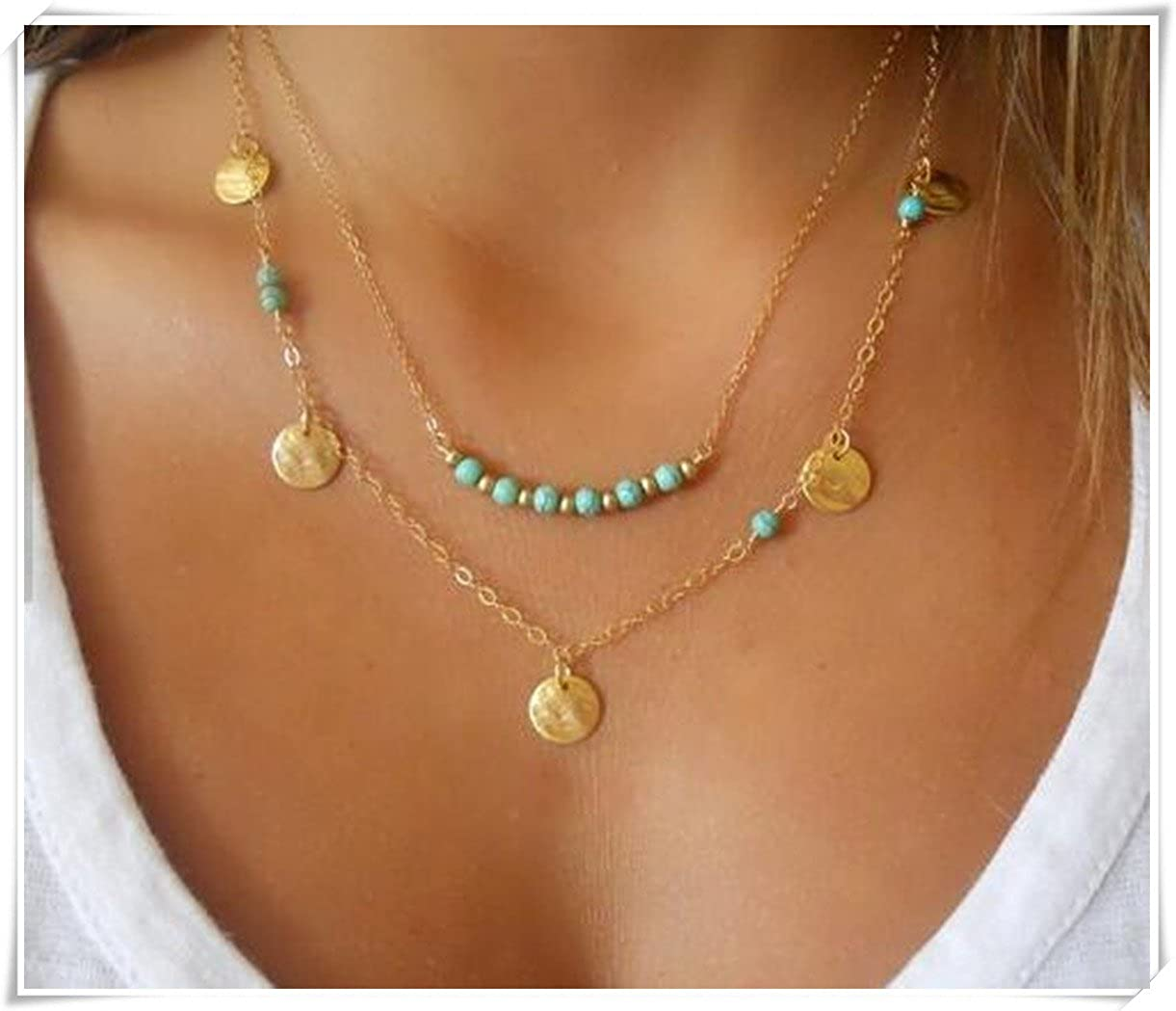 Turquoise Necklace; Set of 2 Necklaces; Layered Necklace; Gold Filled Necklace; Turquoise & Gold Necklace; Coin Necklace; Boho Necklace C88