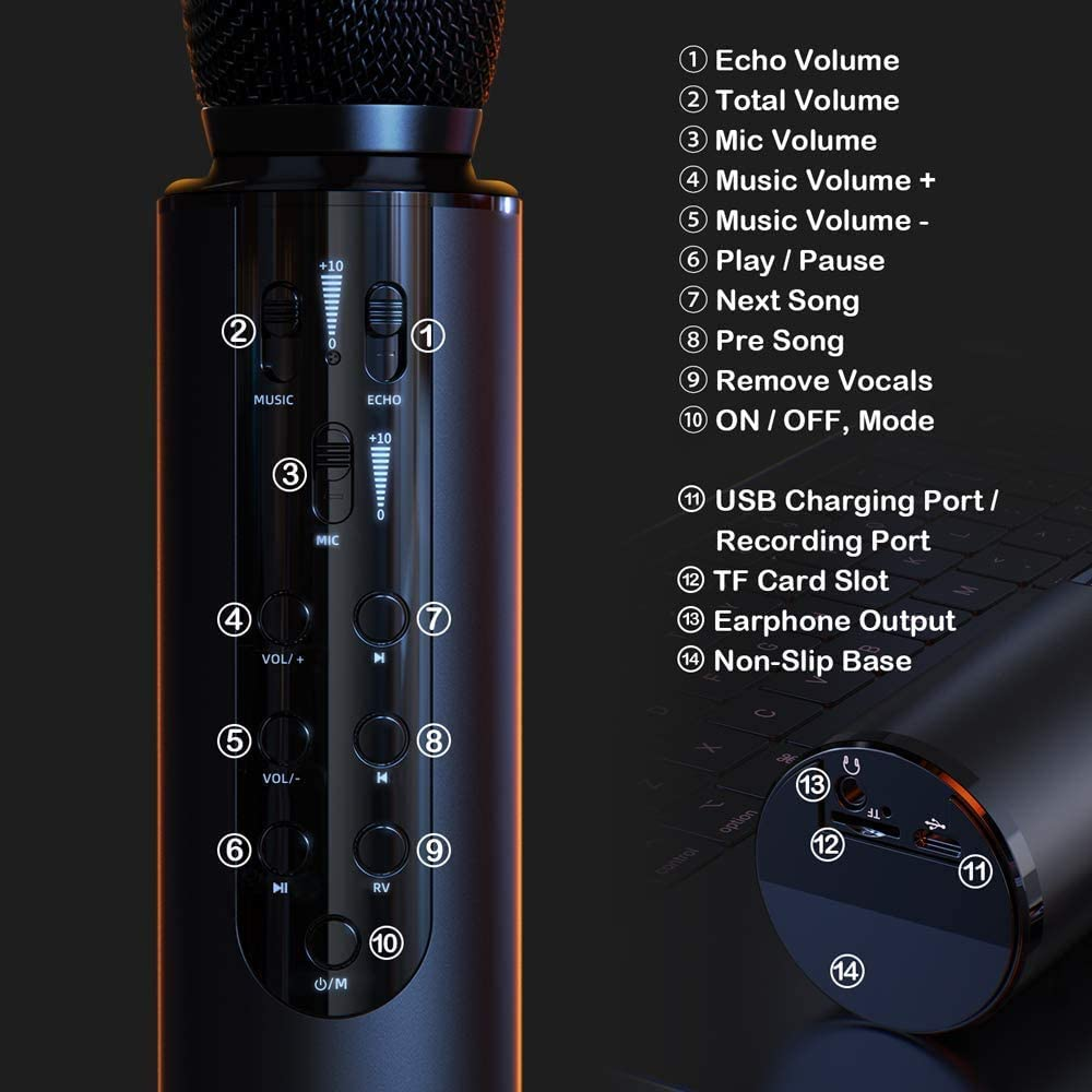 ALPOWL Wireless Bluetooth Karaoke Microphone with Sound Card Black 4-in-1 Portable Handheld Karaoke Mic Machine Christmas Birthday Home Party for Android//iPhone//PC or All Smartphone