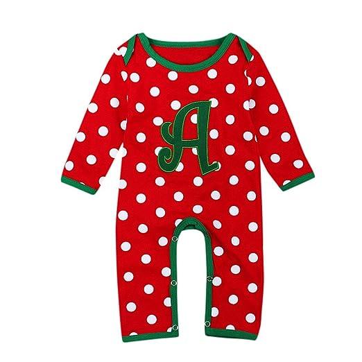 YanHoo Navidad niño bebé niñas niños Carta Dot Mameluco Trajes Trajes Ropa Baby Christmas Lunares Carta túnicas Overoles Infantiles navideños Ropa de niños ...