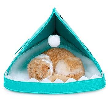 Authda Cama de Fieltro para Gatos Portátil Lavable Suave Cálida y Desmontable Apta para Perros y Gatos Animales Pequeños Camas para Dormir en Interiores y ...