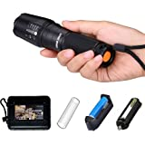 HUNTER COAST Tactical Led Flashlight Portable Bright Handheld Zoomable Torch Flashlights with 5 Modes and Rechargeable Batteries (Black)