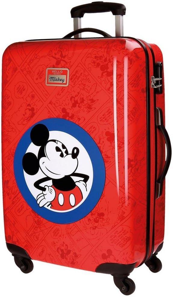 Maleta mediana rígida Hello Mickey Roja