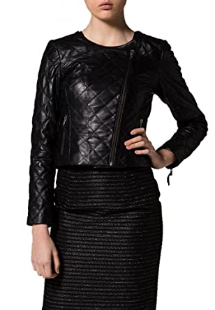 Exemplar Womens Genuine Lambskin Leather Moto Jacket Black ...