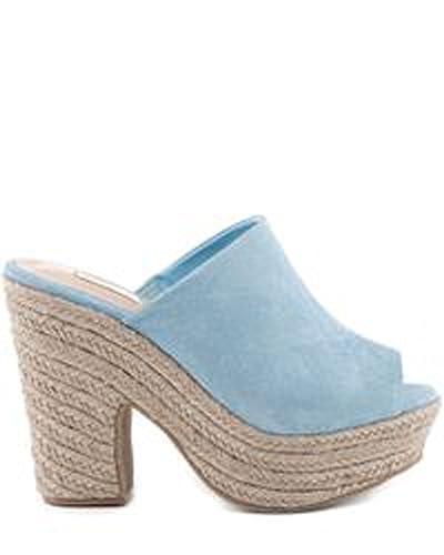 5368cb7de3c SCHUTZ Eviana Jeans Blue Suede Platform Open Toe Espadrille Mules Sandal