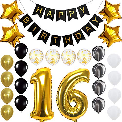 Happy 16th Birthday Banner Balloons Set for Sweet 16 Years Old Birthday Party Decoration Supplies Gold -