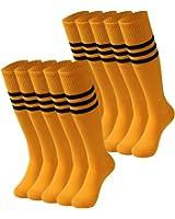 Knee High Socks Men, saounisi Unisex Stripe Football Soccer Sports Team Socks 2/6/10 Pairs