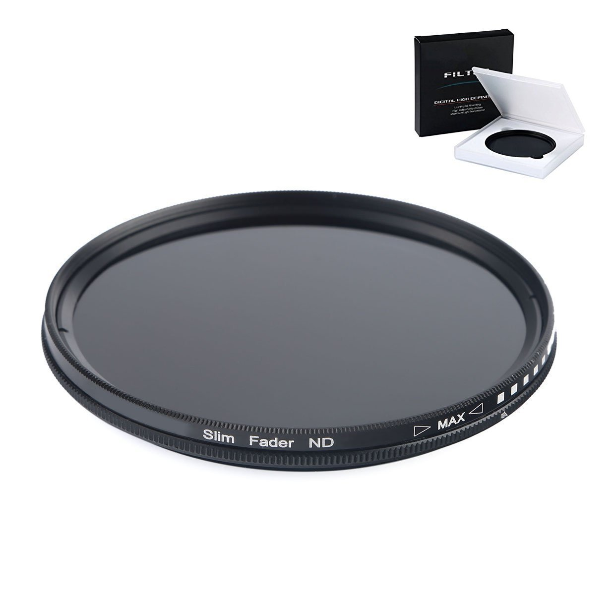 58MM Variable Neutral Density Slim Filter - ND2 to ND400 ND Filter for EOS Rebel T7i, T6, T6s, T6i, SL1, T5, T5i, T4i, T3, T3i, 80D, 70D, 60D, 60Da, 50D, 7D, 6D, 5D, 5DS, 1D Digital SLR Camera
