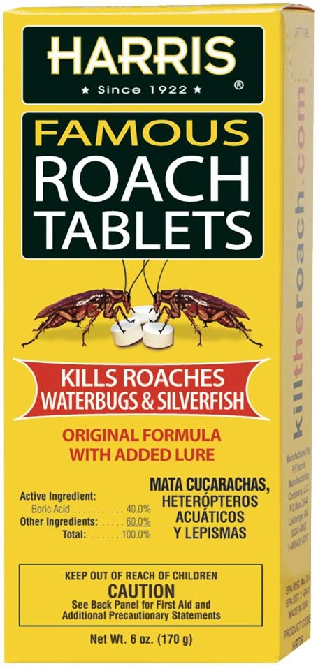 Harris Roach Tablets, Boric Acid Roach Killer with Lure, Alternative to Bait Traps (6oz, 145 Tablets) : Insect Traps : Garden & Outdoor