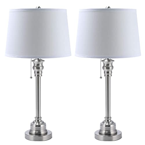 CO-Z White Table Lamp Set of 2, Modern Metal Desk Lamp in Brushed Steel Finish, 26 Inches in Height, Bedside Lamps for Office Bedroom Nightstand Accent, ETL. Table Lamp Set of 2