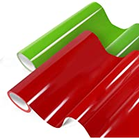 """Heat Transfer Vinyl Red and Light Green HTV Pack 12""""x5ft 2 Rolls Iron on Vinyl Roll for T-Shirt Compatible with All…"""