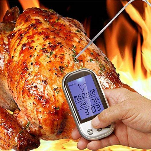 Digital Wireless Meat Cooking Thermometer w/Meat Brush By EliteMeat | Best Remote BBQ, Oven, Smoker, Grill Kitchen Thermometer w/Timer For Indoor &Outdoor Use | Supreme Long Range | Free Extra Probe