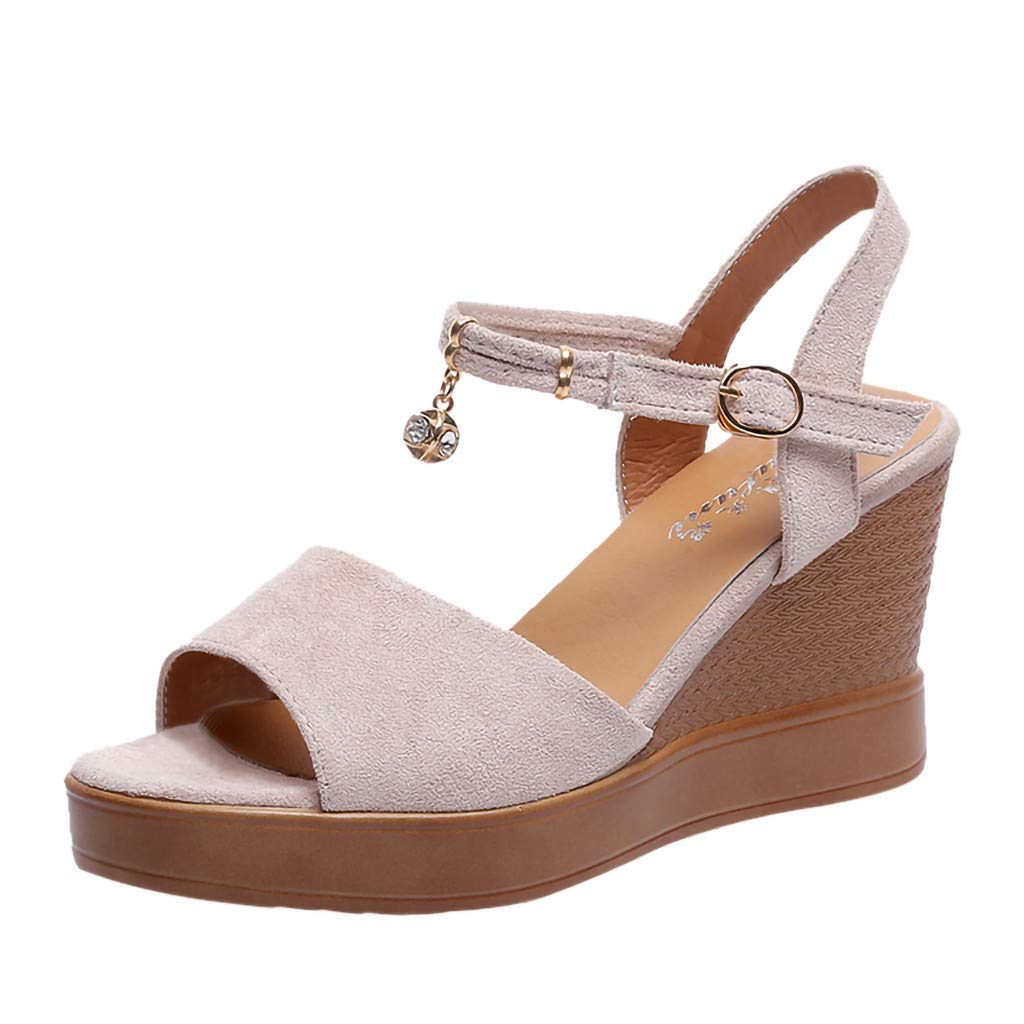 Lurryly Summer Women Sandals Wedges Shoes Pearl Thick Bottom Belt Buckle Roman Sandals