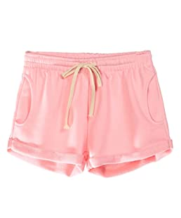Yimoon Women's Casual Summer Elastic Waist Running Workout Yoga Shorts Sports Fitness Short Pants with Drawstring (Pink, Small)