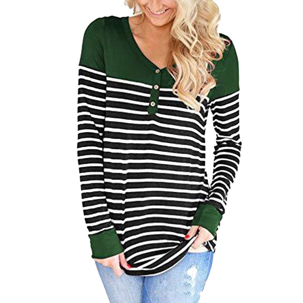 Ljdemmke Button Striped Patchwork T-Shirt O-Neck Color Block Causal Tees