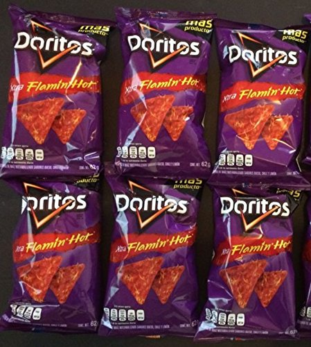 Doritos Flaming Hot 6 Pack (62g/2.18 oz each bag) Original Sabritas Mexican Edition Version Tostilocos Chili Corn Tortilla Chips Snacks