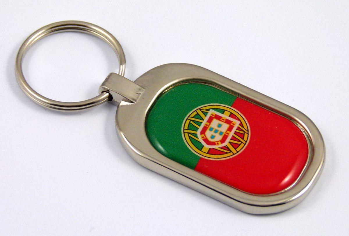 Portugal Flag Key Chain Metal Chrome Plated Keychain Portuguese